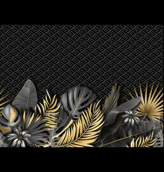 horizontal seamless pattern with gold black vector image