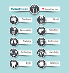 human systems medical icon and sticky note vector image