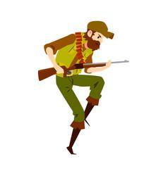 Hunter man with rifle flat vector