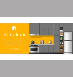 Interior design Modern kitchen background 5 vector image