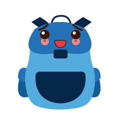 Kawaii backpack school equipment bag education vector