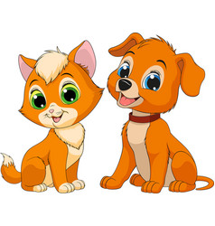 Kitten and puppy friends vector
