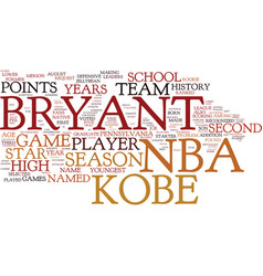 Kobe bryant nba superstar text background word vector