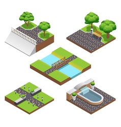 Landscaping isometric compositions vector