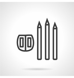 Line icon for pencil and sharpener vector image