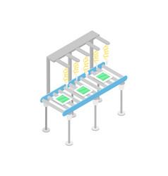 Modern mechanical conveyor isometric 3d icon vector