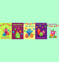 monster birthday greeting card monsters with vector image