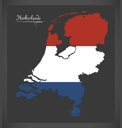 Netherlands map with dutch national flag vector
