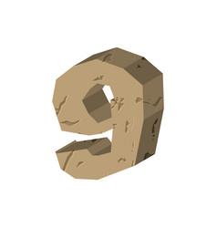 Number 9 stone rock font nine stones alphabet vector