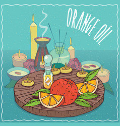Orange oil used for aromatherapy vector