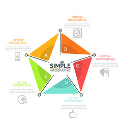pentagonal diagram divided into 5 bright colored vector image