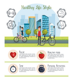 people in bicycle with healthy lifestyle icons vector image