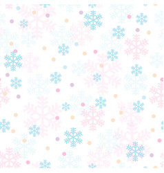 pink blue christmas snowflakes seamless pattern vector image