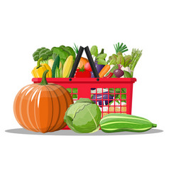 plastic shopping basket full of vegetables vector image