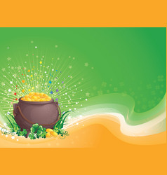 Pot of gold for saint patrick day vector