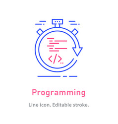 programming line icon on white background vector image