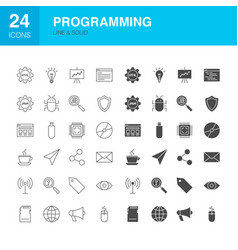 programming line web glyph icons vector image