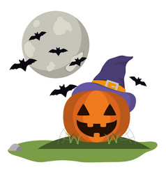 Pumpkin with witch hat and bats vector