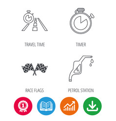 Race flags travel timer and petrol station vector