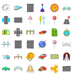 Rail bridge icons set cartoon style vector