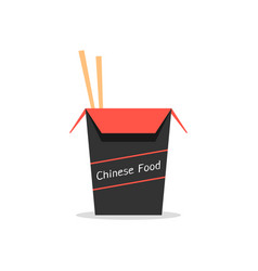 Red and black box with chinese food vector