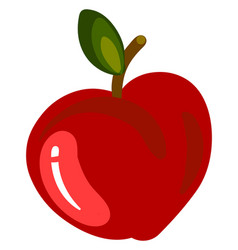 red flat apple on white background vector image