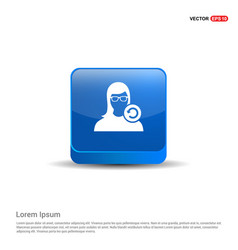 Reload user icon - 3d blue button vector