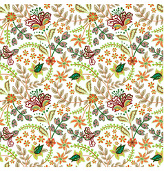 retro wild flower pattern in the many kind of vector image