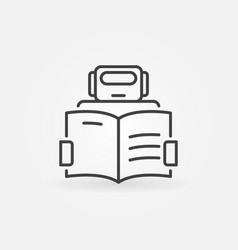 Robot reading a book icon - machine vector