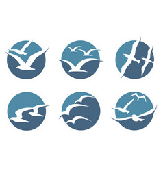 Seagull icon set vector