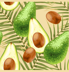 Seamless background with avocado vector