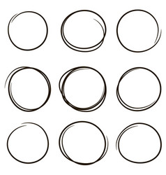 set hand drawn scribble circles vector image
