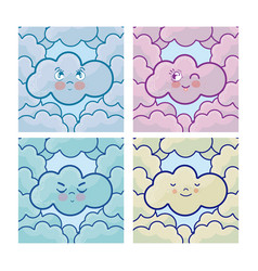 set of cute clouds vector image