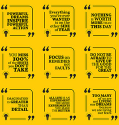 Set of motivational quotes about action fear vector