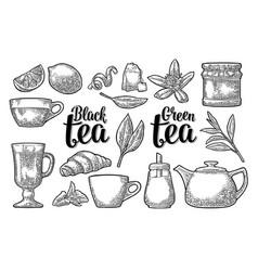 set tea with lettering vintage engraving vector image