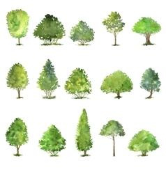 Set trees drawing watercolor vector