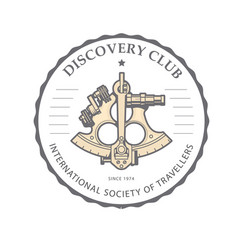 Sextant emblem for discovery club - navigation vector