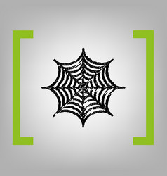 spider on web black scribble vector image