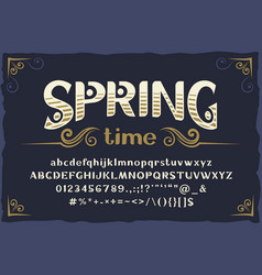spring - vintage typeface with base vector image