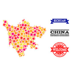 Star mosaic map of sichuan province and grunge vector