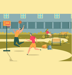 students play outdoor basketball girl on bench vector image