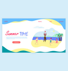 Summer time horizontal banner with copy space vector