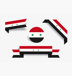 syrian flag stickers and labels vector image
