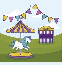 tent sale ticket with carousel and garlands vector image