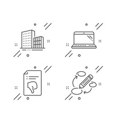 Thumb down laptop and buildings icons set vector