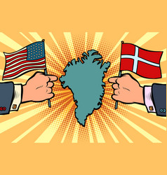 usa v denmark dispute over greenland hands of vector image