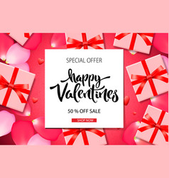 valentines day sale background top view on vector image