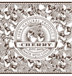 Vintage cherry label on seamless pattern vector