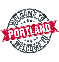 Welcome to portland red round vintage stamp vector
