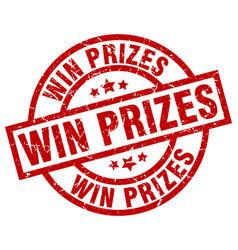 Win prizes round red grunge stamp vector